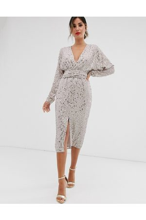 ASOS Midi dress with batwing sleeve and wrap waist in scatter sequin-Gold