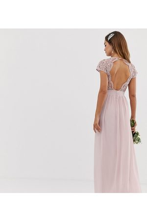TFNC Bridesmaid exclusive open back scalloped lace dress in mink-Neutral