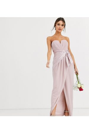 TFNC Dame Maxikjoler - Bridesmaid bandeau maxi wrap dress with satin front detail in taupe-Brown