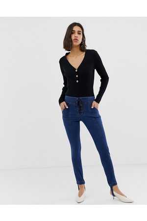 Current Air Skinny Jean with Stirrup and Lace Up Detail-Blue