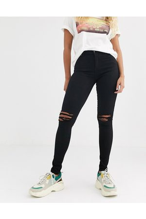 Dr Denim Lexy mid rise second skin super skinny ripped knee jeans-Black