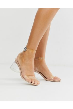 Public Desire Afternoon mid clear heeled sandals-Neutral