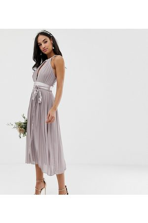 TFNC Pleated midi bridesmaid dress with cross back and bow detail in grey