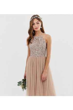 Maya Dame Midikjoler - Bridesmaid halter neck midi tulle dress with tonal delicate sequins in taupe blush-Brown