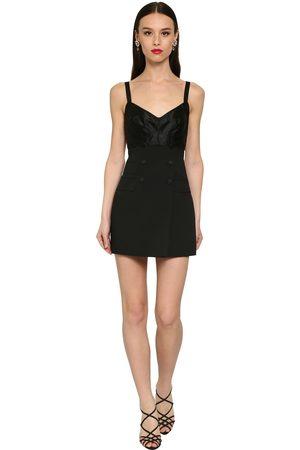 Dolce & Gabbana Buttoned Stretch Silk & Wool Mini Dress