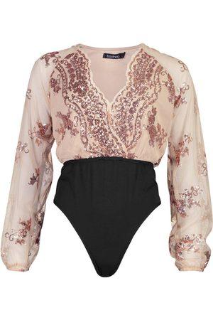 Boohoo Floral Sequin Plunge Bodysuit
