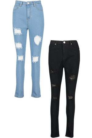 Boohoo 2 Pack High Rise Distressed Skinny Jeans