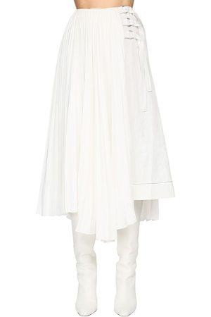 Proenza Schouler Pleated Linen Blend Midi Skirt W/buckles