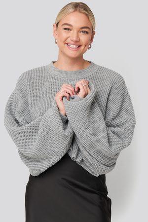 NA-KD Cropped Waffle Knit Sweater