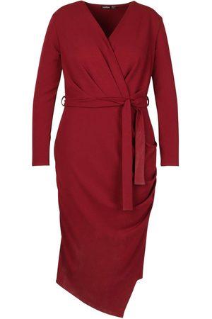 Boohoo Plus Wrap Front Midi Dress