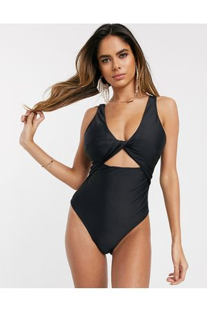 ASOS Recycled fuller bust supportive twist front cut out swimsuit in black dd-g
