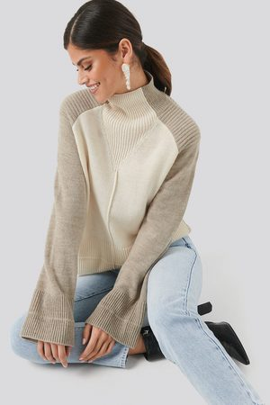 NA-KD Trend Dame Gensere - Wool Blend Colour Block Sweater
