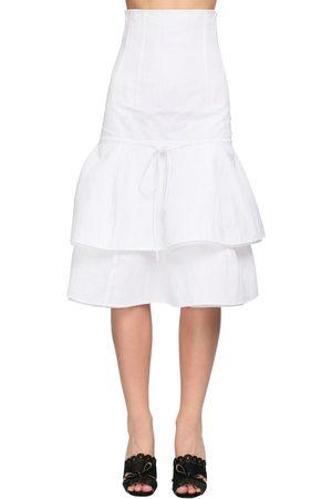 BROCK COLLECTION Dame Midiskjørt - Ruffled Cotton Blend Midi Skirt