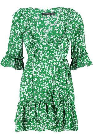 Boohoo Woven Ruffle Front Wrap Tea Dress