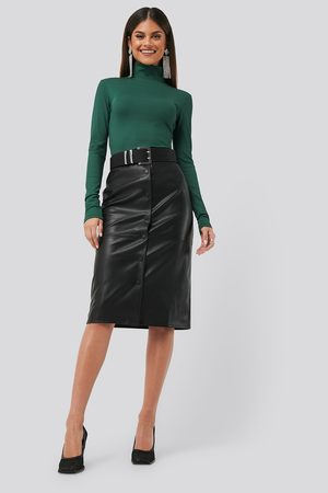 NA-KD PU Button Midi Skirt