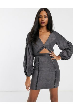 ASOS Suedette mini dress with cut out and stud detail-Grey