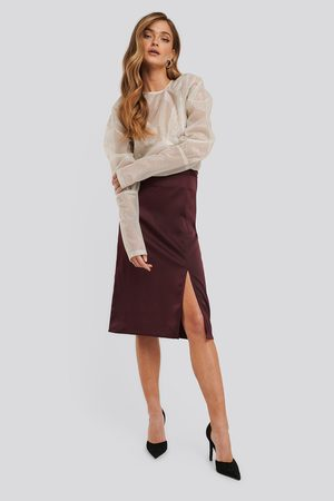 NA-KD Front Slit Satin Skirt