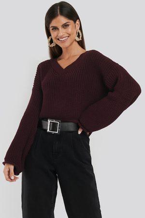 NA-KD Dame Strikkegensere - Cropped V-neck Knitted Sweater