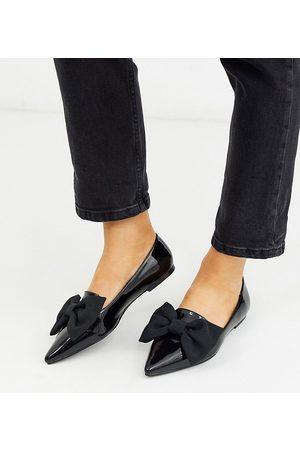 ASOS Dame Ballerinasko - Wide Fit Lake bow pointed ballet flats in black
