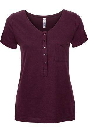 bonprix Dame Kortermede - T-shirt med knappelist