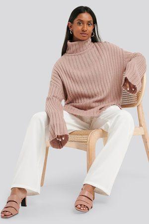 NA-KD Dame Strikkegensere - Wide Sleeve Rib Knitted Polo