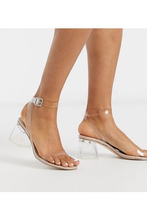 Public Desire Afternoon clear block heeled sandal in patent-Neutral