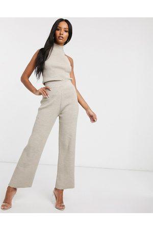 Fashionkilla Knitted flare trouser co ord in oatmeal-Cream