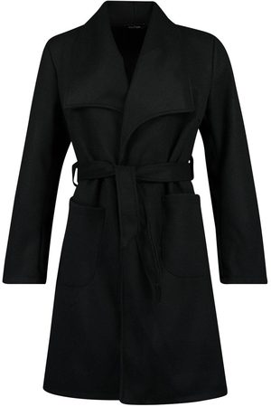 Boohoo Dame Ullkåper - Wide Collar Belted Wool Look Coat