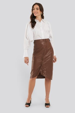 NA-KD Faux Leather Wrap Skirt