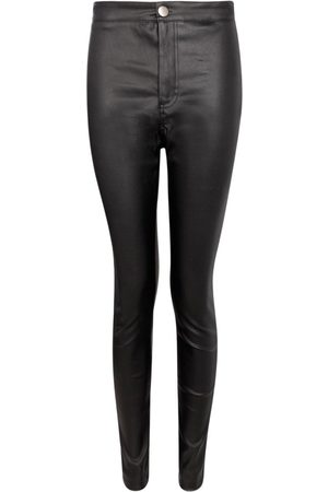Boohoo High Waist Matte Leather Look Trouser