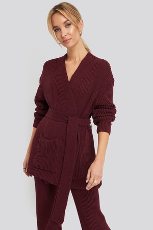 NA-KD Recycled Belted Open Ribbed Cardigan