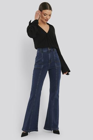 NA-KD Dame Bootcut - High Waist Front Seam Flare Jeans