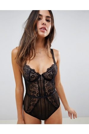 ASOS Morgan linear lace underwire bodysuit-Black
