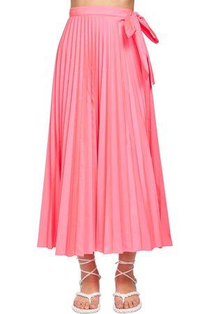 VALENTINO Nylon Canvas Midi Skirt W/side Bow
