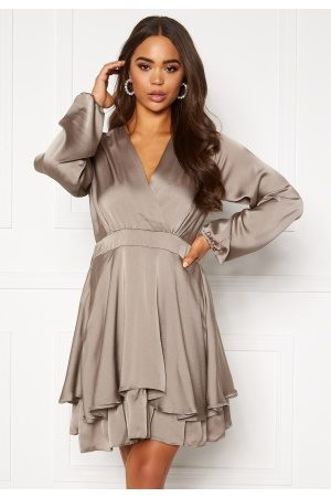 Ax Paris Wrap Frill Mini Dress Pewter S (UK10)