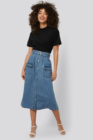 NA-KD Belted A-Line Denim Skirt