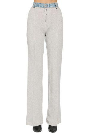 UNRAVEL Terrycloth & Denim Straight Leg Pants