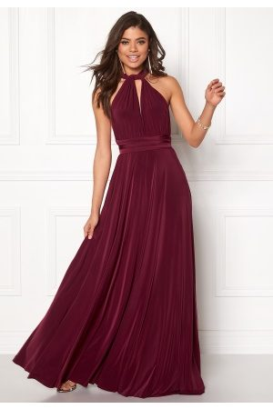 Goddiva Multi Tie Maxi Dress Berry M (UK12)