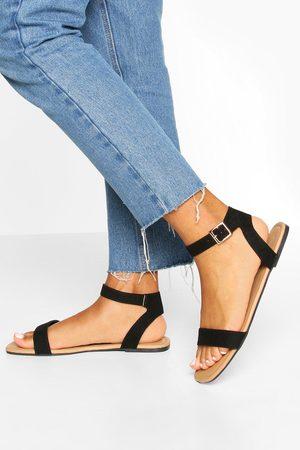 Boohoo Square Toe 2 Parts Basic Sandals