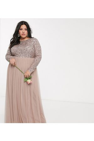 Maya Bridesmaid long sleeve v back maxi tulle dress with tonal delicate sequin overlay in taupe blush-Brown