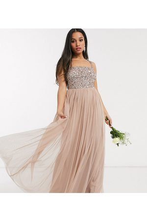 Maya Bridesmaid sleeveless square neck maxi tulle dress with tonal delicate sequin in taupe blush-Brown