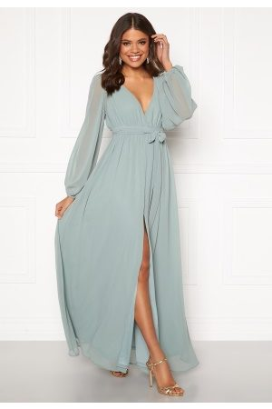 Goddiva Long Sleeve Chiffon Dress Sage Green M (UK12)