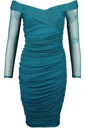 Boohoo Off Shoulder Ruched Mesh Bodycon Midi Dress