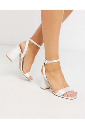 Be Mine Bridal Wink heeled sandals in ivory satin-White