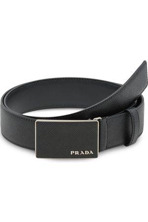 Prada Herre Belter - Pebbled effect logo buckle belt