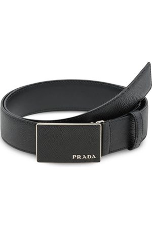 Prada Pebbled effect logo buckle belt