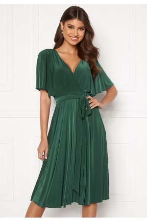 Goddiva Flutter Sleeve Midi Dress Botanical Green M (UK12)