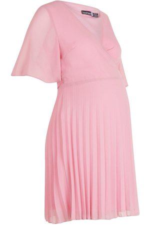 Boohoo Maternity Pleated Wrap Midi Skater Dress