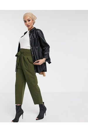 ASOS Tailored tie waist ankle grazer trousers-Green