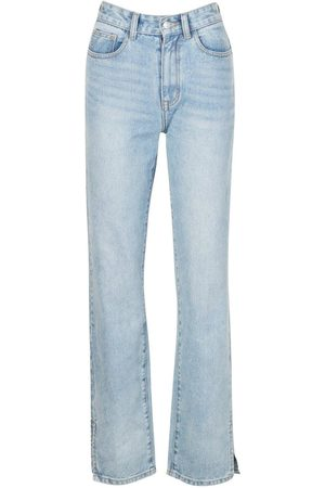 Boohoo High Rise Split Hem Straight Leg Jean